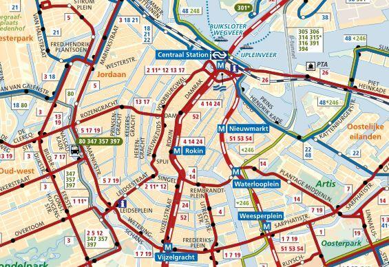 Routekaart GVB uitsnede